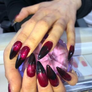 lovely-nails-bar-kingston-pointed-acrylic-nail-extensions-with-black-colour-tip-design