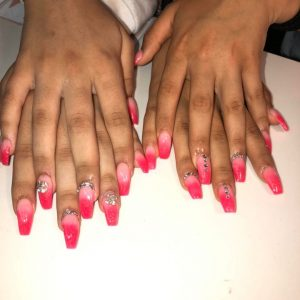 lovely-nails-bar-kingston-trendy-coffin-shape-acrylic-nail-extensions-with-hot-pink-colour-ombre-design-9